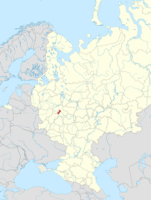 Moscow highlighted within Russia