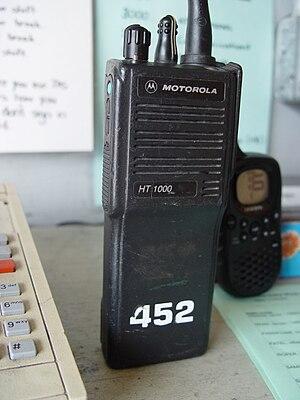 Professional mobile radio - Motorola HT1000 hand-held two-way radio