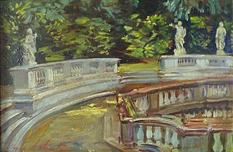 Charles Mount - Charles Mount, Detail of the gardens at Versailles, oil on canvas, 1960