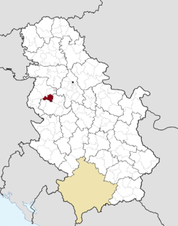 Location of the municipality of Koceljeva within Serbia