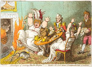 Muslin - In Advantages of wearing Muslin Dresses! (1802), James Gillray caricatured a hazard of untreated muslin: its flammability.