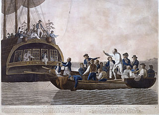 Mutiny aboard the British Royal Navy ship HMS Bounty