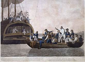 Mutiny on the Bounty - Fletcher Christian and the mutineers turn Lieutenant William Bligh and 18 others adrift; 1790 painting by Robert Dodd