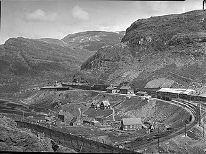 Flåm Line - Myrdal Station (here pictured in 1942) opened in 1908 as part of the Bergen Line.
