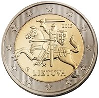 National side (obverse) of a Lithuanian EUR2 coin N22978 2 eur aversas.jpg