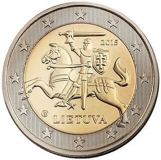 Obverse and reverse - National side (obverse) of a Lithuanian €2 coin