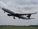 N819NW Delta Air Lines Airbus A330-323 takeoff from Schiphol (AMS - EHAM), The Netherlands pic1.JPG