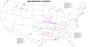 College basketball - Map of NAIA Division I