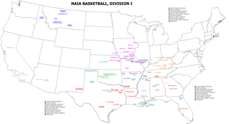 College basketball - Map of NAIA Division I
