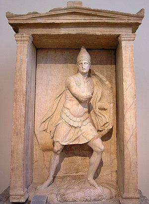 Naiskos - Funerary naiskos of Aristonautes from the Kerameikos, ca. 330–310 B.C. marble, h. 2.91m.