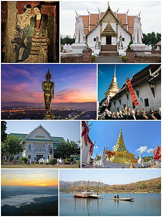 "Nan Province - (from top left, clockwise) - ""Kra Sib Ruk"" murals in Wat Phumin, Wat Phumin, Wat Phra Thart Chang Kham, Wat Phra Thart Chae Haeng, Sirikit Dam, Si Nan National Park, National Museum of Nan, Leela Buddha of Wat Phra Thart Khao Noi"