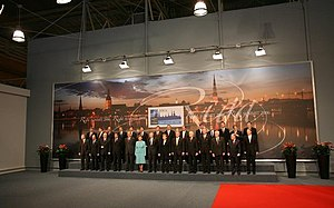2006 Riga summit - NATO heads of state and government stand for the official portrait at the 2006 NATO Summit.