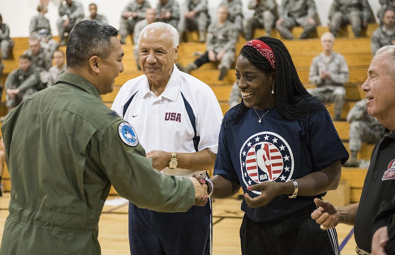 File NBA Cares Hoops for Troops volunteers Lenny Wilkens and