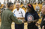 NBA Cares Hoops for Troops volunteers Lenny Wilkens and Ruthie Bolton at Mountain Home Air Force Base, Idaho, Oct. 4, 2013.JPG
