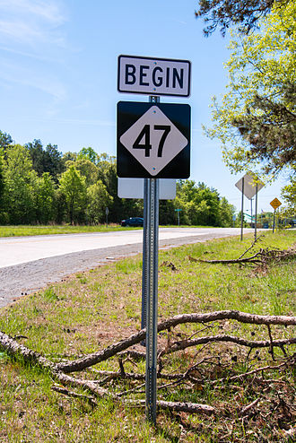 North Carolina Highway 47 - Begin of NC 47, in Lexington