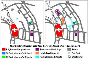 New England Quarter - Diagram showing the layout of streets and significant buildings in the New England Quarter area before and after its redevelopment