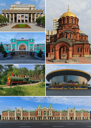 Novosibirsk - Clockwise: Alexander Nevsky Cathedral, the Circus, the Trade House, the Children's Railway, the Railway station, the Opera and Ballet Theatre