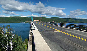 Nova Scotia Highway 105 - Highway 105 crosses the Great Bras d'Or Channel of Bras d'Or Lake using the Seal Island Bridge.