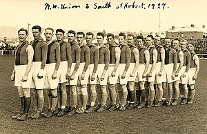 North West Football Union - The TFL (southern) team photo. Charlesworth in front and Gorringe 3rd from the end. players in a North vs South fixture at Hobart, 1927