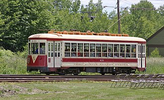 Third Avenue Railway - Third Avenue car operated at the Seashore Trolley Museum, Kennebunkport, Maine.