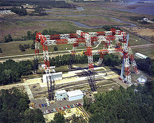 Langley Research Center - Gantry used in lunar landing training as well as testing of land-based landings of the Orion spacecraft