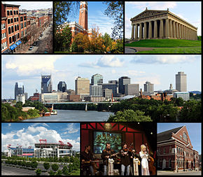 Din stânga sus: 2nd Avenue, Kirkland Hall at Vanderbilt University, the Parthenon, the Nashville skyline, LP Field, Dolly Parton performing at the Grand Ole Opry, and Ryman Auditorium