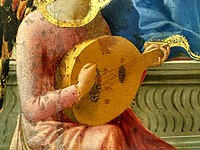A medieval lute shown in the painting 'The virgin and child', by Masaccio, 1426.