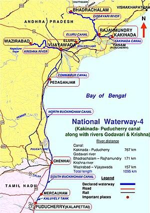 Marakkanam - India's National Waterways NW-4 connects Kakinada, in Andhra Pradesh and Pondicherry, in Puducherry.  The waterway passes through Rajamundry, Vijayawada, Pedakanjam, Chennai and Marakkanam.