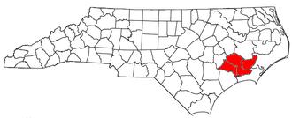 New Bern Metropolitan Statistical Area - Location of the New Bern Metropolitan Statistical Area in North Carolina