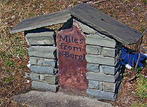 New York State Route 17K - An original stone marker from the Newburgh and Cochecton Turnpike along NY 17K near the Nathaniel Hill Brick House in Montgomery.