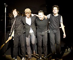 Newsboys on stage for curtain call. From L. to R. Jody Davis, Michael Tait, Duncan Phillips, and Jeff Frankenstein.