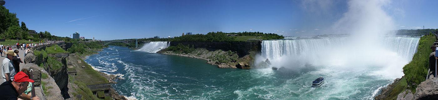 תצלום פנורמי של מפלי הניאגרה מכיוון הטיילת הקנדית. בצד ימין: המפלים הקנדיים. בצד שמאל: המפלים האמריקניים (לצפייה הזיזו עם העכבר את סרגל הגלילה בתחתית התמונה)