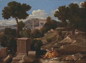 Goethe in the Roman Campagna - Classical painter Nicolas Poussin's Landscape with Saint John on Patmos (1640); the ruins are typical subject matter for painters in the classical style.