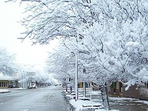 Español: Nieve en La Carlota, Argentina Lietuv...