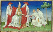 Niccolo and Maffeo Polo remitting a letter from Kubilai to Pope Gregory X in 1271.