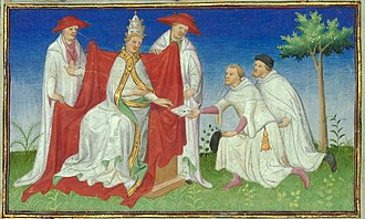 Pope Gregory X - Niccolò and Maffeo Polo remitting a letter from Kubilai to Pope Gregory X in 1271.