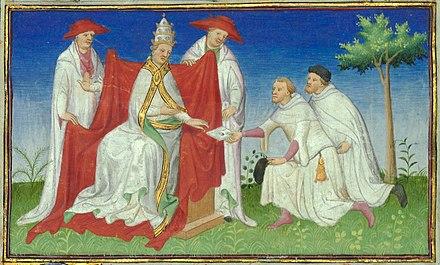 Niccolò et Matteo Polo remettant la lettre de Kubilai Khan au pape Grégoire X en 1271.