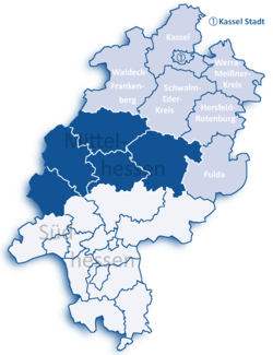 Map of Hesse highlighting the Regierungsbezirk of Kassel