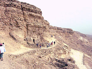 Tombs of the Nobles (Amarna) - Northern Tombs at Amarna, looking south along the cliffs