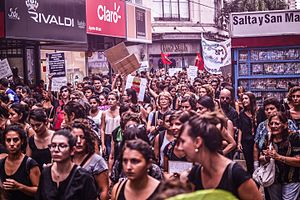 International Women's Strike - Demonstrators in Santa Fe, Argentina, where the protest was called Paro Internacional de Mujeres