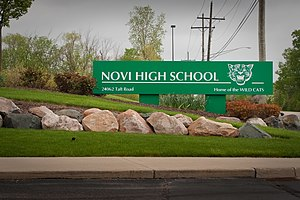 Novi High School - Image: Novi High School MI Entrance Sign