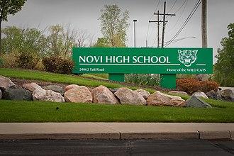 Novi Community School District - Novi High School entrance sign