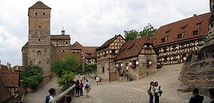 Nuremberg Castle - The courtyard with Heidenturm (Heathens' Tower), Kaiserkapelle (Imperial Chapel), and Tiefer Brunnen (Deep Well)