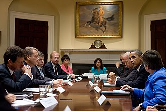 Tony Hayward - Barack Obama with Tony Hayward and the BP board of directors talking about clean-up of the oil.