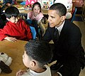 Obama meets with children at Chinese American Service League (CASL) on Tuesday, April 13 (cropped).jpg