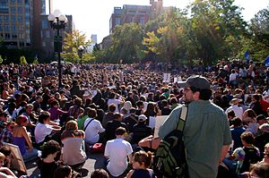 Participatory democracy - Members of the occupy movement practicing participatory democracy in a General Assembly held in Washington Square Park, New York City on October 8, 2011