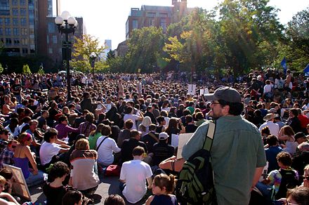 Members of the Occupy Movement practicing participatory democracy in a general assembly held in Washington Square Park, New York City on October 8, 2011