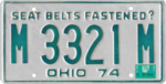 Ohio license plate, 1974–1975 series with 1975 sticker.png