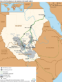 Oil fields and infrastructure in Sudan and South Sudan.png