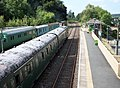 Okehampton Station and view towards Meldon Quarry, Devon.jpg